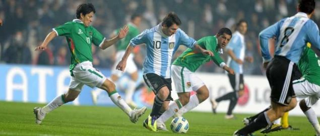 Messi with the ball during the first game of the 2011 Copa America