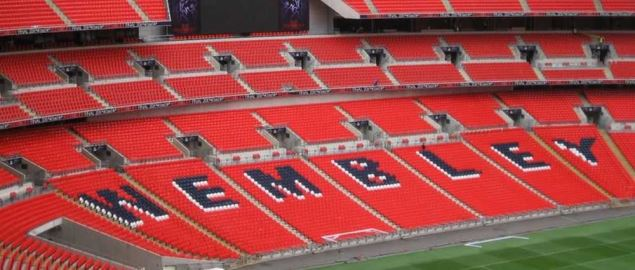 Wembley Stadium, home of the England national soccer team.
